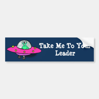 Bumper Sticker with Alien in Spaceship