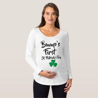 Bump's First St Patricks Day Shamrock Irish Maternity T-Shirt