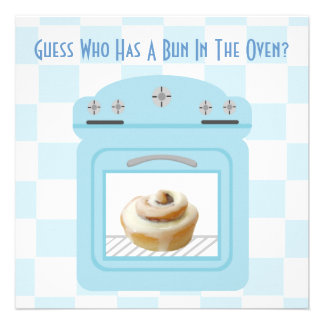 Bun In The Oven Baby Boy Blue Baby Shower Personalised Announcement