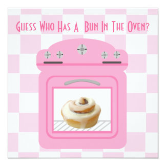 Bun In The Oven Baby Girl Pink Baby Shower 13 Cm X 13 Cm Square Invitation Card