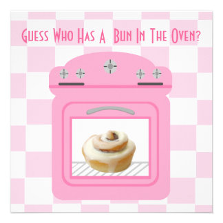 Bun In The Oven Baby Girl Pink Baby Shower Personalized Invitation