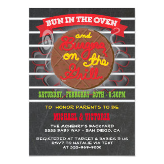 Bun in the Oven burgers on the grill Baby Shower 13 Cm X 18 Cm Invitation Card