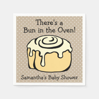 Bun in the Oven Cinnamon Roll Cute Baby Shower Disposable Napkins