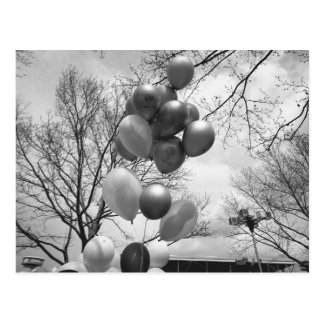 Bunch of balloons outdoors B&W low angle Postcard