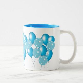 Bunch of blue balloons mug