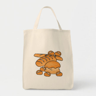 bunch of bread and rolls grocery tote bag