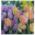 Bunch of colourful tulips napkin