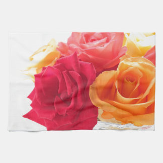 bunch of different roses tea towel