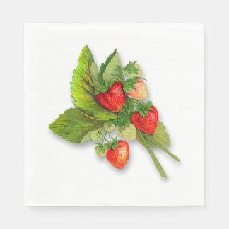 Bunch of Fresh Summer Strawberries Disposable Serviette