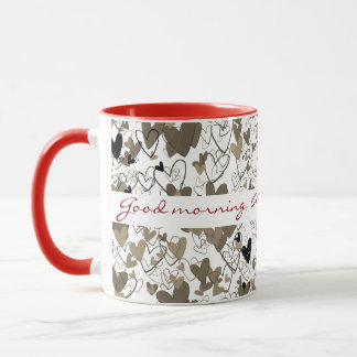 Bunch of Hearts Personalized Red Sephia Dramatic Mug