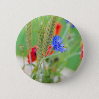 Bunch of of red poppies, cornflowers and ears 6 cm round badge