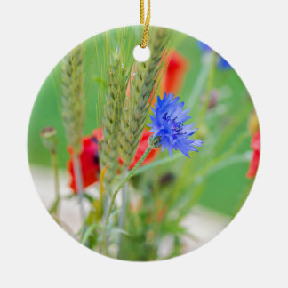 Bunch of of red poppies, cornflowers and ears ceramic ornament