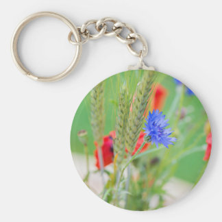 Bunch of of red poppies, cornflowers and ears key ring