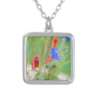 Bunch of of red poppies, cornflowers and ears silver plated necklace