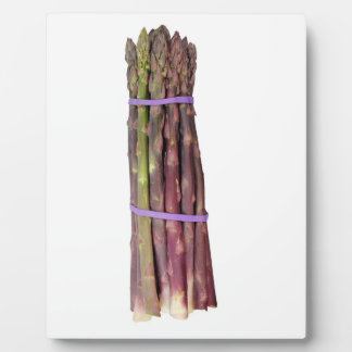 Bunch of Purple Asparagus on White Display Plaque