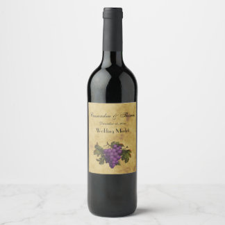 Bunch of Purple Grapes Distressed Tea Stained BG Wine Label