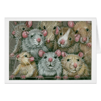 Bunch of Rats at Rattie Reunion Notecard Note Card
