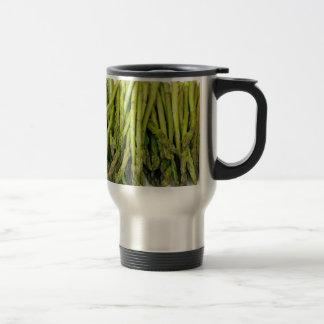Bunch of Raw Asparagus on White Travel Mug