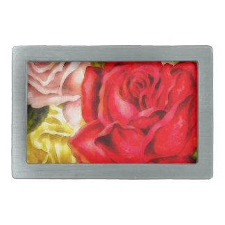 Bunch Of Roses Watercolor Belt Buckles