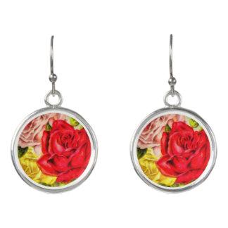 Bunch Of Roses Watercolor Earrings