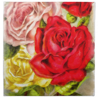 Bunch Of Roses Watercolor Napkin