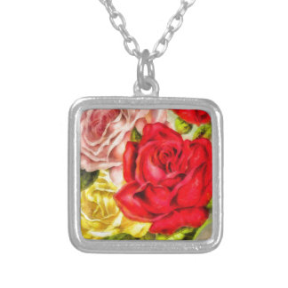 Bunch Of Roses Watercolor Silver Plated Necklace