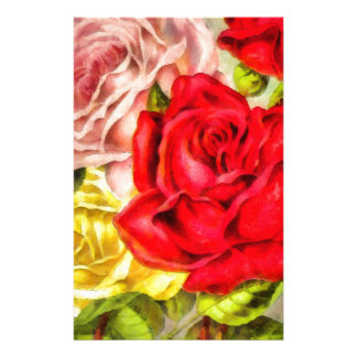 Bunch Of Roses Watercolor Stationery