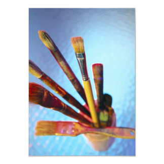 Bunch Of Used Paint Brushes 11 Cm X 16 Cm Invitation Card