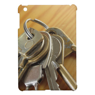 Bunch of worn house keys on wooden table case for the iPad mini