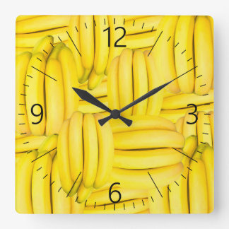 Bunches of banana pattern square wall clock