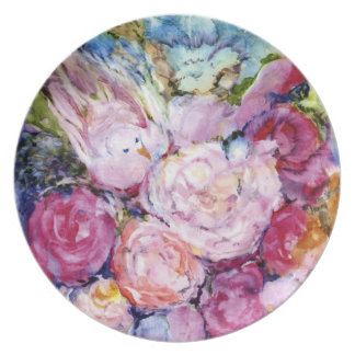 Bunches of Pink Flowers and Pink Bird Plate
