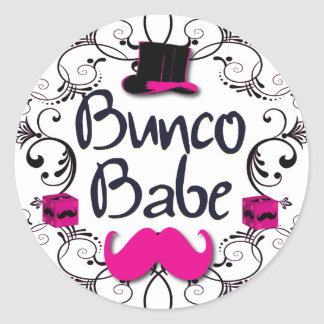 Bunco Babe with Pink Top Hat and Pink Mustache Classic Round Sticker