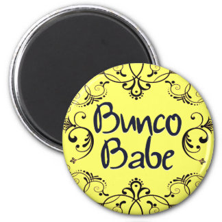 Bunco Babe with Swirls Button Magnet