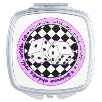 Bunco Chicks Roll With It - Purple Travel Mirror