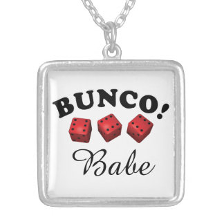 Bunco Dice and Babe or Name Silver Plated Necklace