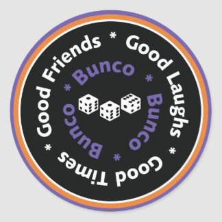 Bunco Good Friends - Purple Classic Round Sticker