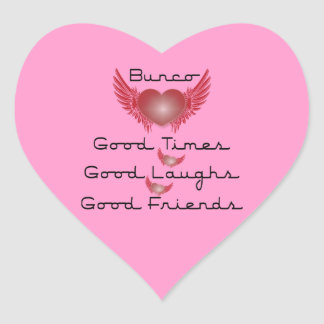 Bunco - Good Times, Laughs, Friends - Retro Heart Heart Sticker