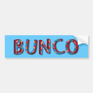 Bunco letters with bunco dice bumper sticker