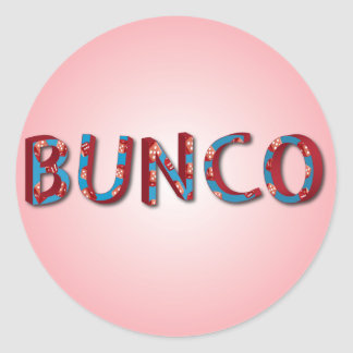 Bunco letters with bunco dice classic round sticker
