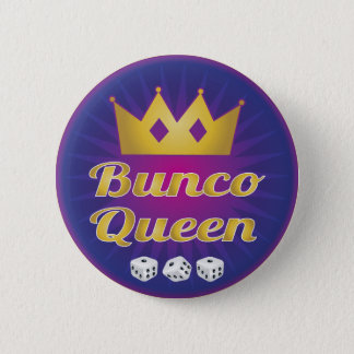 Bunco Queen Crown and Dice 6 Cm Round Badge