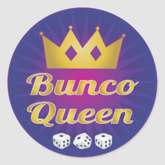 Bunco Queen Crown and Dice Classic Round Sticker