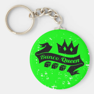 Bunco Queen Crown and Dice Ribbon - Grunge Texture Key Ring