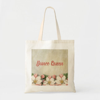 Bunco Queen Dice Game Player Vintage Flower Tote Bag