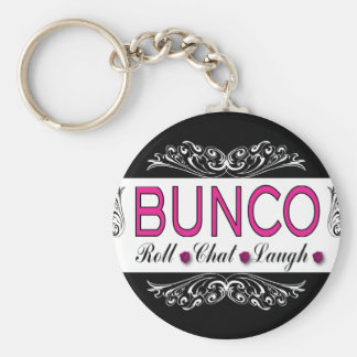 Bunco, Roll, Chat, Laugh In Pink, Black and White Key Ring