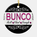 Bunco, Roll, Chat, Laugh In Pink, Black and White Round Ceramic Decoration