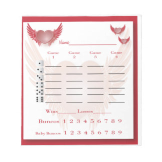 bunco score pad - heart with wings