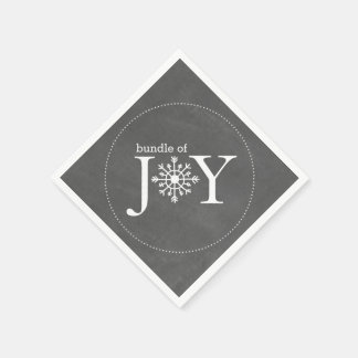 Bundle Of Joy Chalk Snowflake Winter Baby Shower Paper Napkin