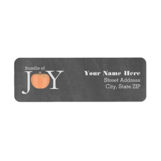 Bundle Of Joy Chalkboard Pumpkin Fall Baby Shower Return Address Label