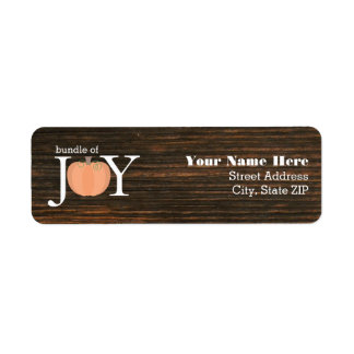Bundle Of Joy Wood Inspired Fall Baby Shower Return Address Label