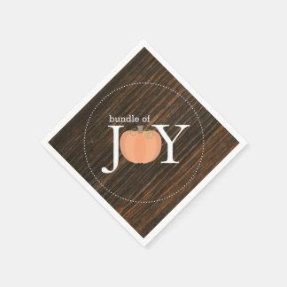 Bundle Of Joy Wood Inspired Pumpkin Baby Shower Disposable Napkins